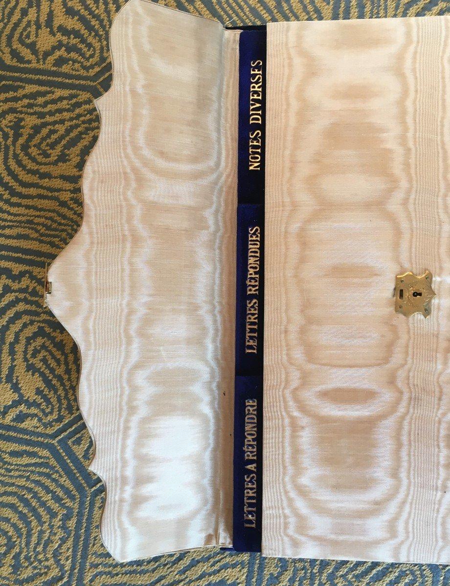 Etui à Courrier En Velour Bleu  Et Garniture Bois Napoléon III-photo-4
