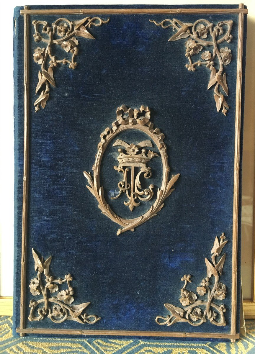 Etui à Courrier En Velour Bleu  Et Garniture Bois Napoléon III