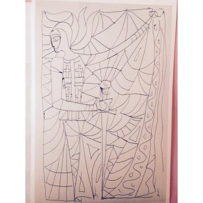Jean Cocteau  Etude Sur Papier Pour Vitrail De La Chapelle Notre Dame De Jerusalem.