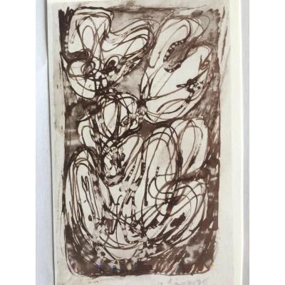 Pierre Alechensky  Encre Sur Papier 1961