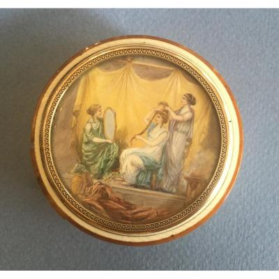 Very Fine Snuff Box In Ivory With A Miniature (intamate Scene) . Late 18th Century