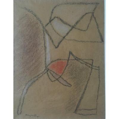 Alberto Magnelli  Composition Abstraite  Sur Papier Datée 1941
