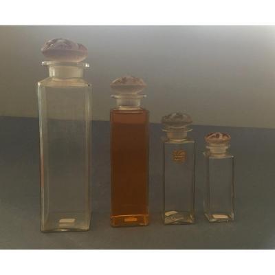 """René Lalique 4 Flacons """"Lilas Pourpre"""" pour le parfumeur Coty"""