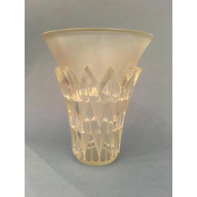 Lalique  Vase Modéle Feuilles Verre Pressé Moulé