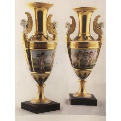 A Pair Of Paris Porcelain Empire Vases Baluster Shape