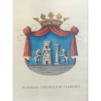 Serie Of 5 Lithographs Enhanced With Watercolor Coat Of Arms Of Neapolitan And Sicilian Family