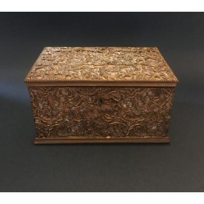 Rococo Style Box - Mother Of Pearl With Gilded Copper Scrolls.