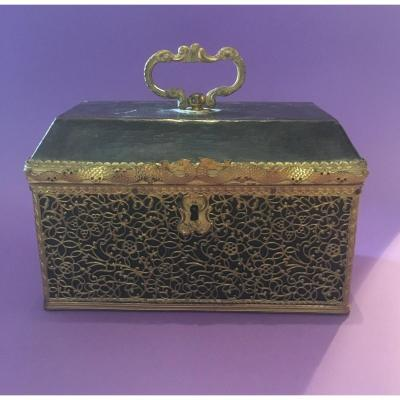 Tea Caddy, Copper Filigree Decor With Leather-wrapped Dragons.