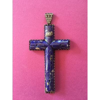 Pectoral Cross Lapis Lazuli And Silver XIX Ith Century