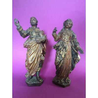 Paire De Statuts De Saints . Espagne ou Naples Fin XVII iéme