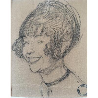 Drawing By Jean- Gabriel Domergue Portrait Of The Artist Yvonne  Giraud-hanriot (1898-    )