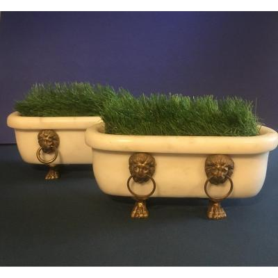 Pair Of Small Antique Marble Bathtubs. XIX I Century.