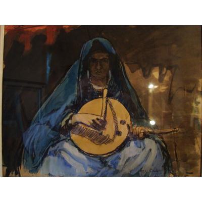 "Paul-elie Dubois ""woman Playing The Amzad"" Gouache On Paper."