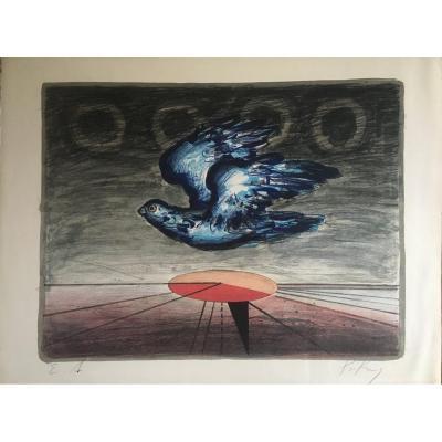 "Franz PRIKING   ""L' oiseau""  Lithographie"