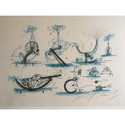 Jean Tinguely  (1925-1991)  Numbered    47/50 And Signed Lithograph