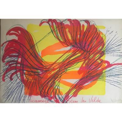 """Jean MESSAGIER  Lithographie  """"Hommage à Bram van Velde""""  1978"""
