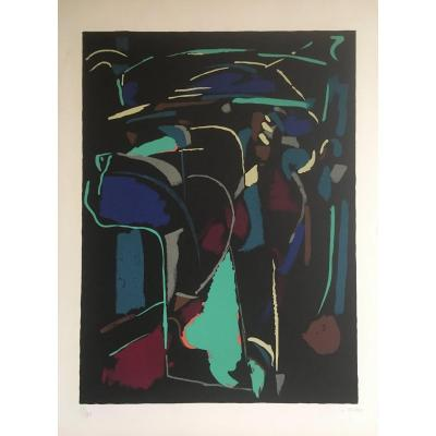 "André Lanskoy ""black Background"" Lithograph Signed And Numbered 56/120"