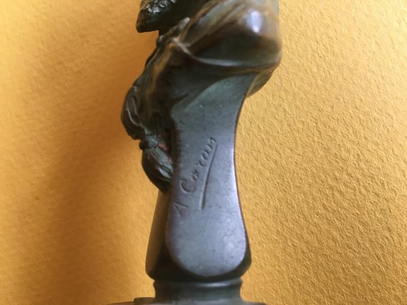 Buste En Bronze Patine Verte d'Un Arabe Par Alexandre Caron-photo-3