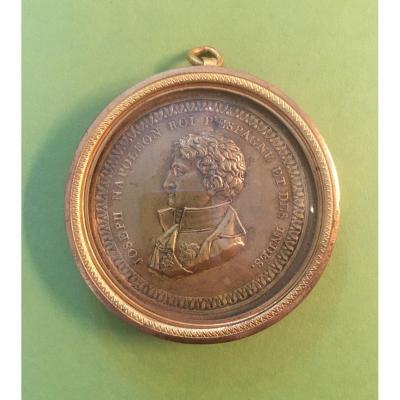 Joseph Bonaparte- Médaille en Bronze dans son Cadre en Laiton