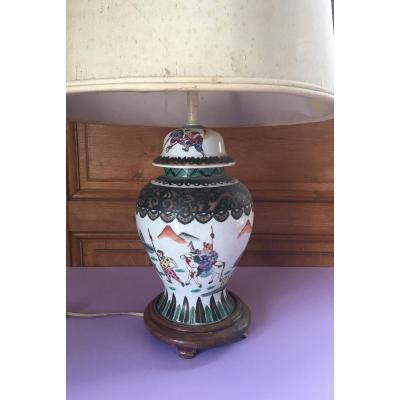 Potiche Chinoise Polychrome XIX Iéme Siècle Transformé En Lampe.