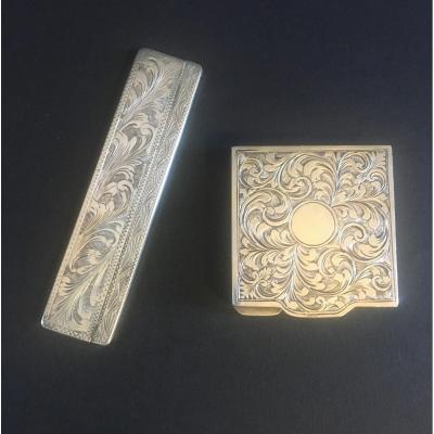 Nécessaire  Pour Sac. De Dame; Poudrier Et Peigne Avec étui En Argent Massif . XIX Iéme