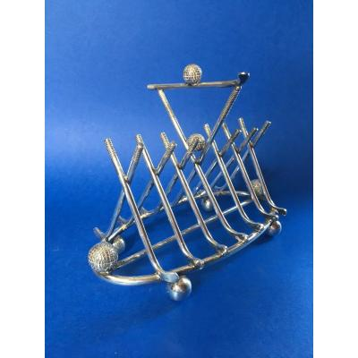 Toast Holder On The Theme Of Golf ... English Silver Metal