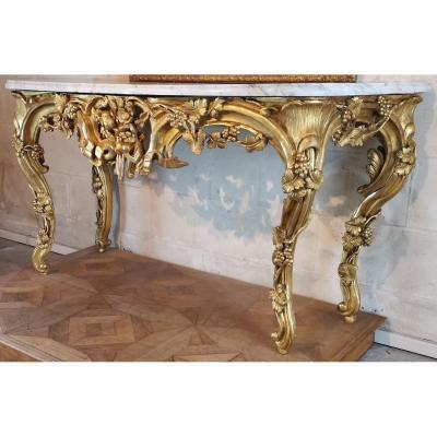 Importante Table En Console En Bois Doré, Aix En Provence époque Louis XV Vers 1760