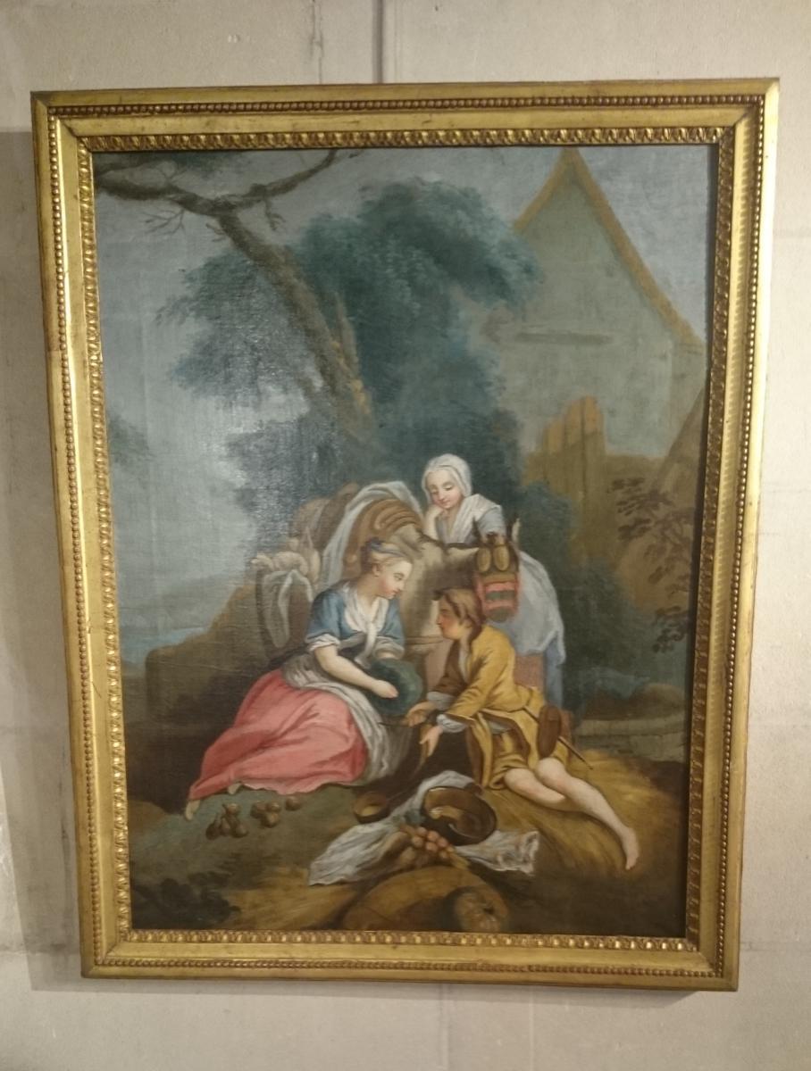 Pastorale Louis XVI Fin XVIIIème Le Déjeuner Sur L'herbe. -photo-2