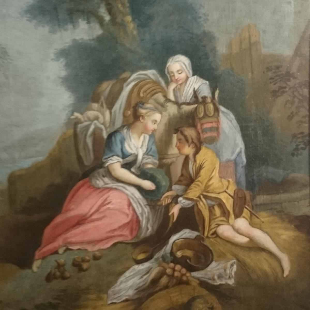 Pastorale Louis XVI Fin XVIIIème Le Déjeuner Sur L'herbe. -photo-3