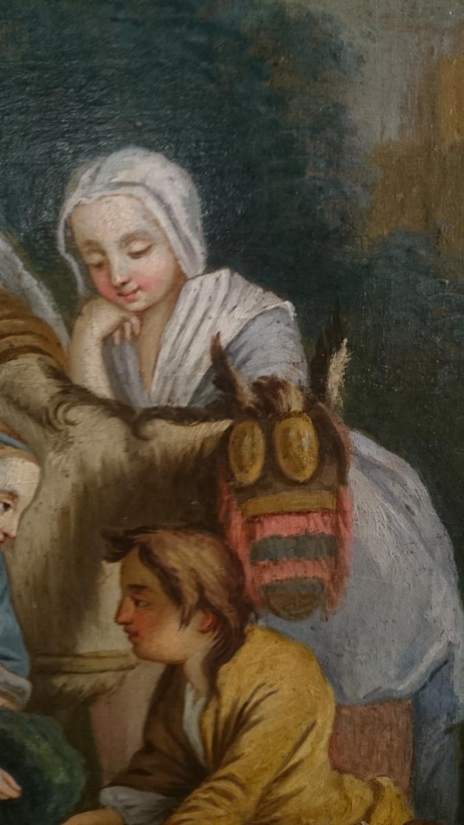 Pastorale Louis XVI Fin XVIIIème Le Déjeuner Sur L'herbe. -photo-1