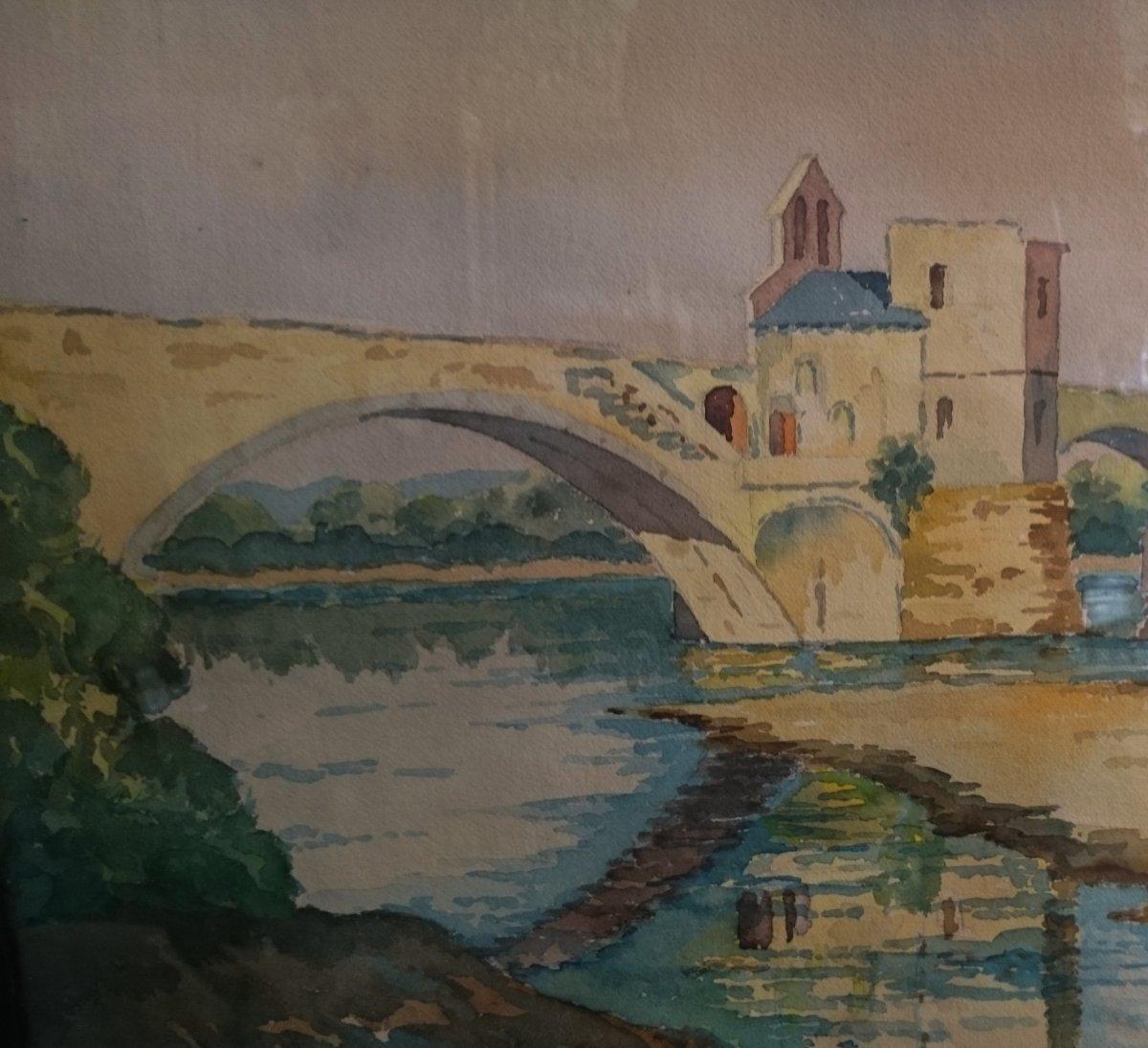 Robert Puech - Le Pont Saint Benezet École Avignonnaise Fin XIX Début XXe-photo-2