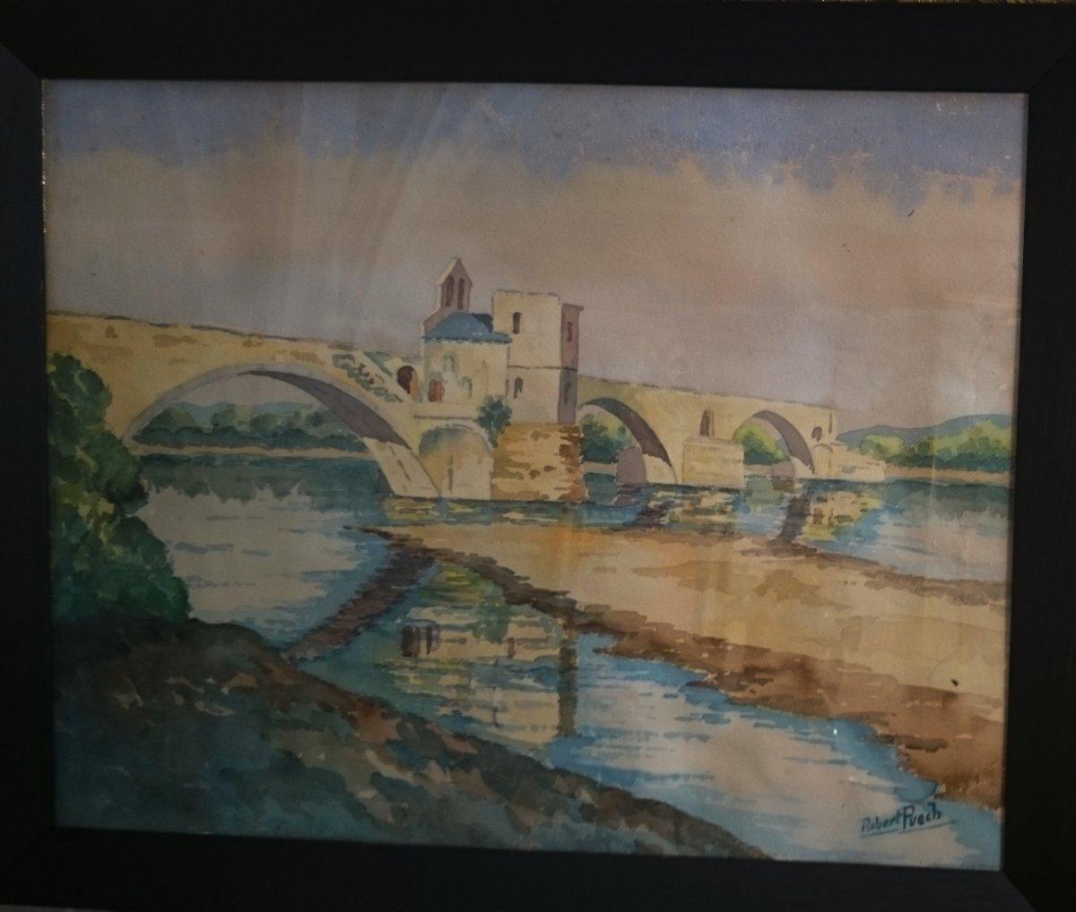 Robert Puech - Le Pont Saint Benezet École Avignonnaise Fin XIX Début XXe-photo-4