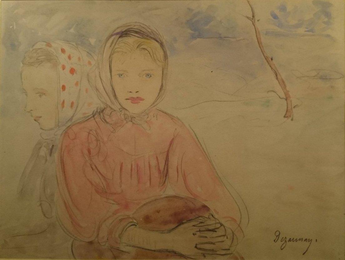 Dezaunay Émile Alfred - Jeunes Filles Blondes Aux Yeux Bleu