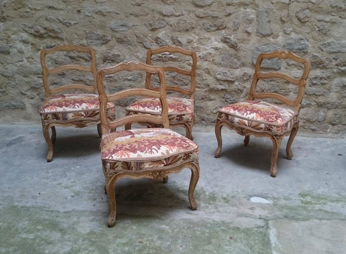 Four Lyonnaise Chairs Louis XV, XVIIIth Century Around 1745