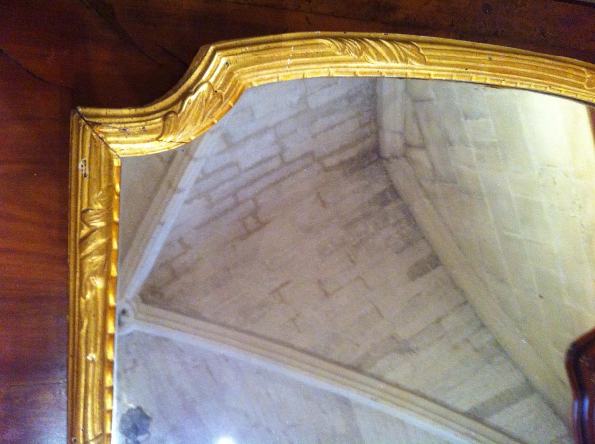 Miroir en bois doré d'époque Louis XIV-photo-2