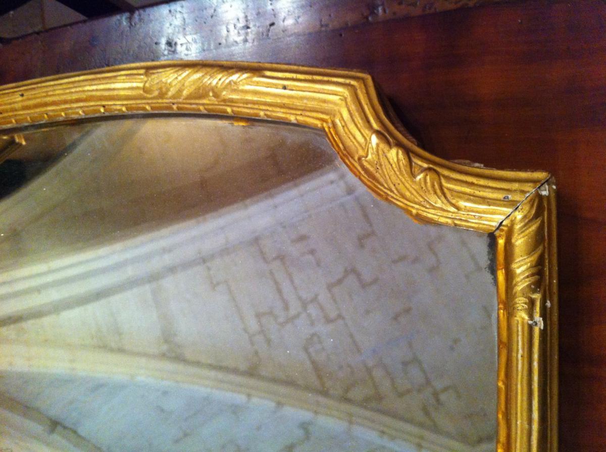Miroir en bois doré d'époque Louis XIV-photo-3