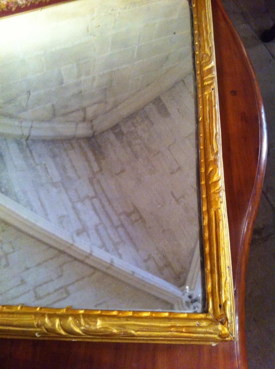 Miroir en bois doré d'époque Louis XIV-photo-4