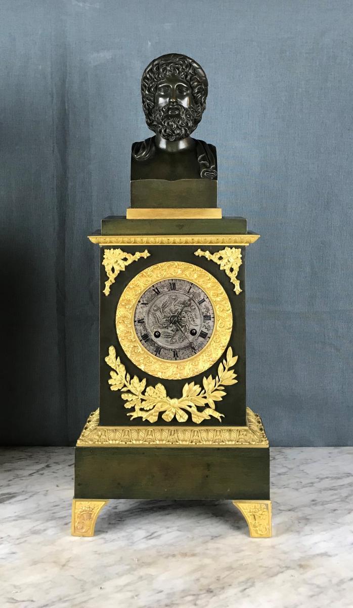 Grande Pendule d'époque Charles X, Zeus Dieu De l'Olympe Vers 1820.