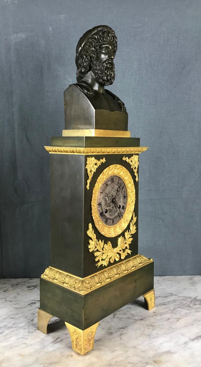 Grande Pendule d'époque Charles X, Zeus Dieu De l'Olympe Vers 1820.-photo-2