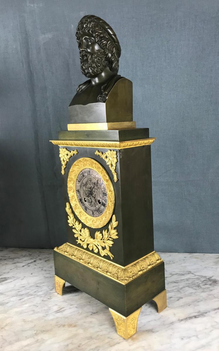 Grande Pendule d'époque Charles X, Zeus Dieu De l'Olympe Vers 1820.-photo-3