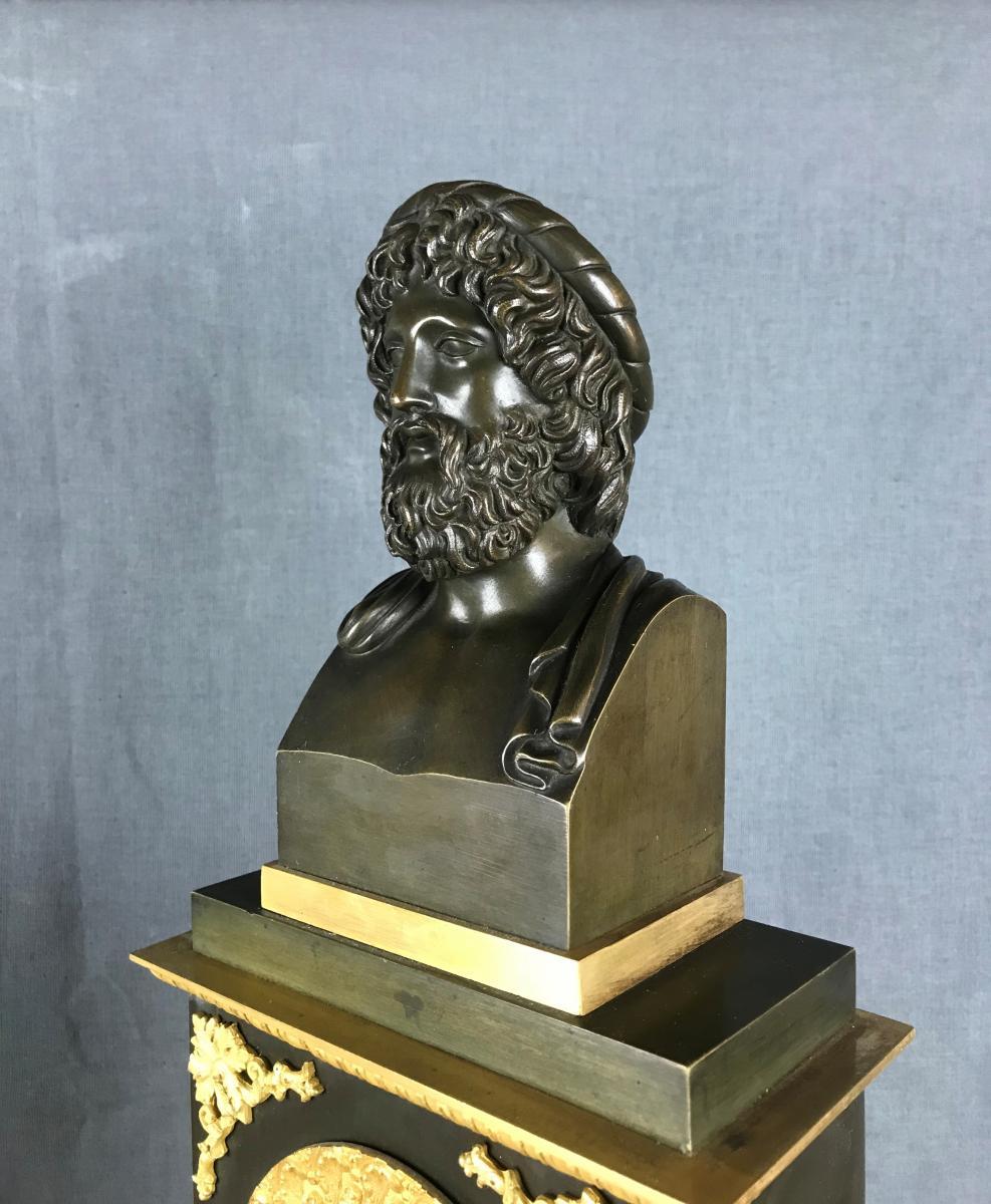 Grande Pendule d'époque Charles X, Zeus Dieu De l'Olympe Vers 1820.-photo-1