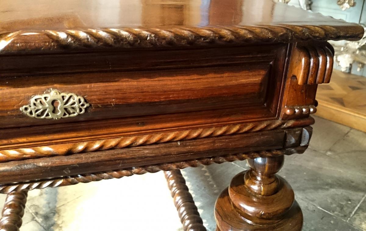 Table De Milieu D'apparat En Palissandre D'époque Louis XIV -photo-5
