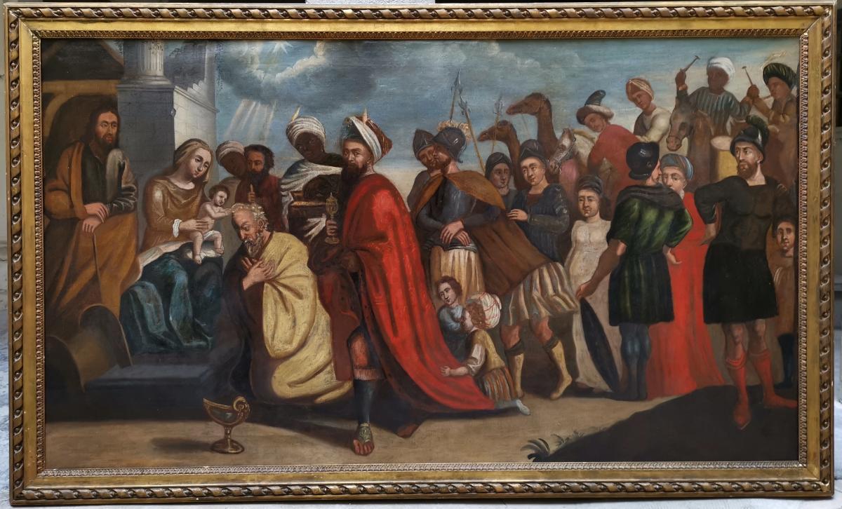 L'adoration Des Mages, école Italienne XVIIe Siècle.