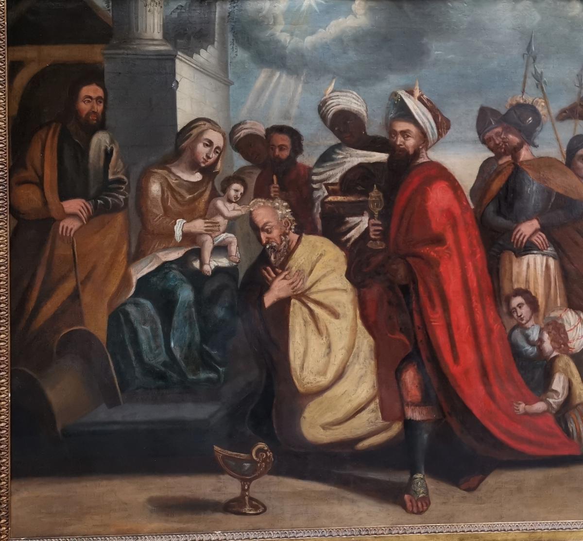 L'adoration Des Mages, école Italienne XVIIe Siècle.-photo-3