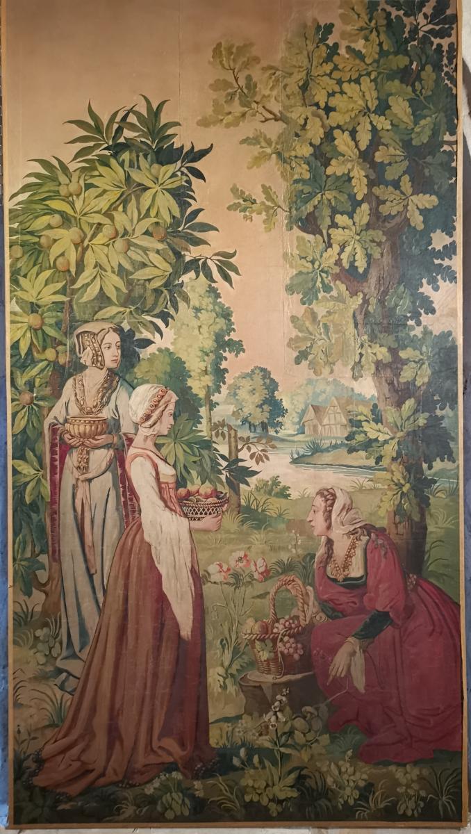 Scène De Vie Médiévale Dans Un Verger. AUBUSSON