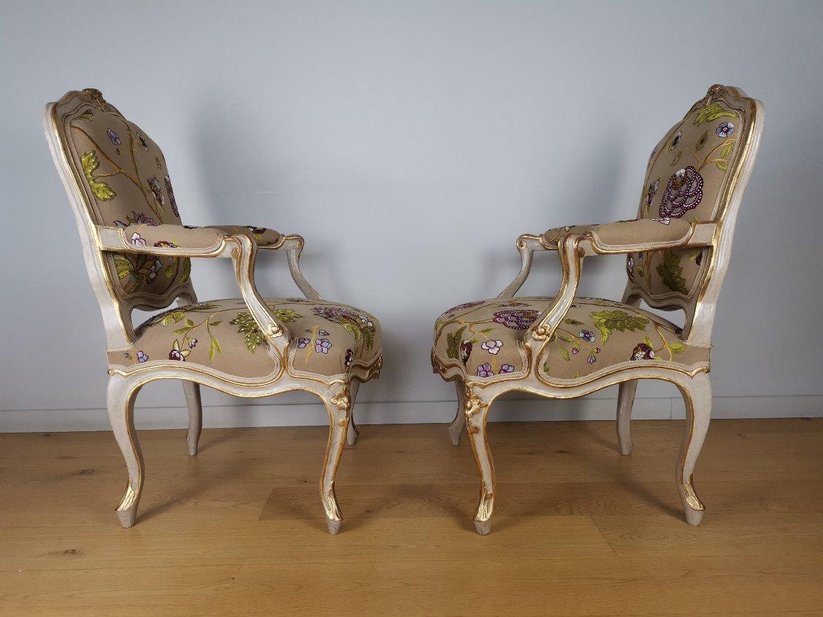 Paire de fauteuils de salon d'apparat d'époque Louis XV, att à Gourdin.-photo-3
