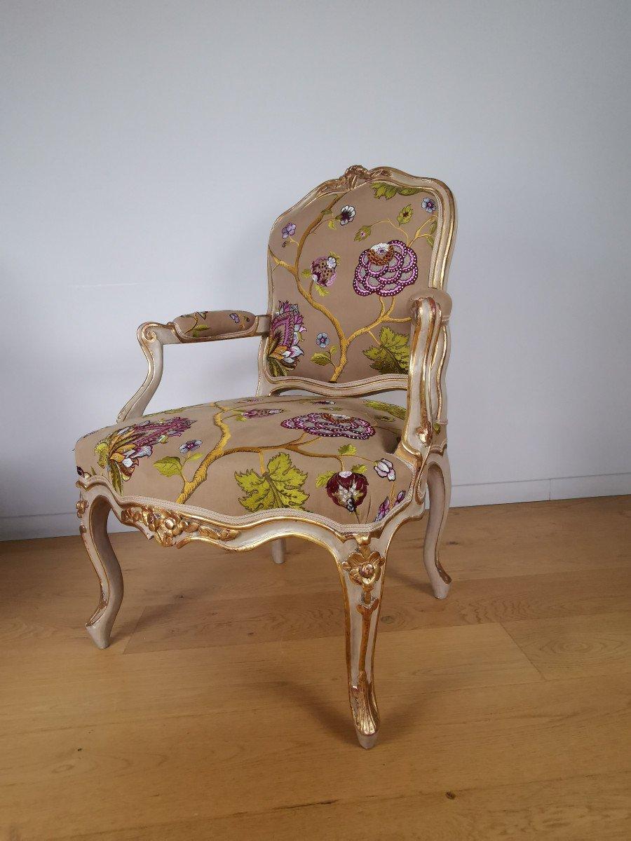 Paire de fauteuils de salon d'apparat d'époque Louis XV, att à Gourdin.-photo-4