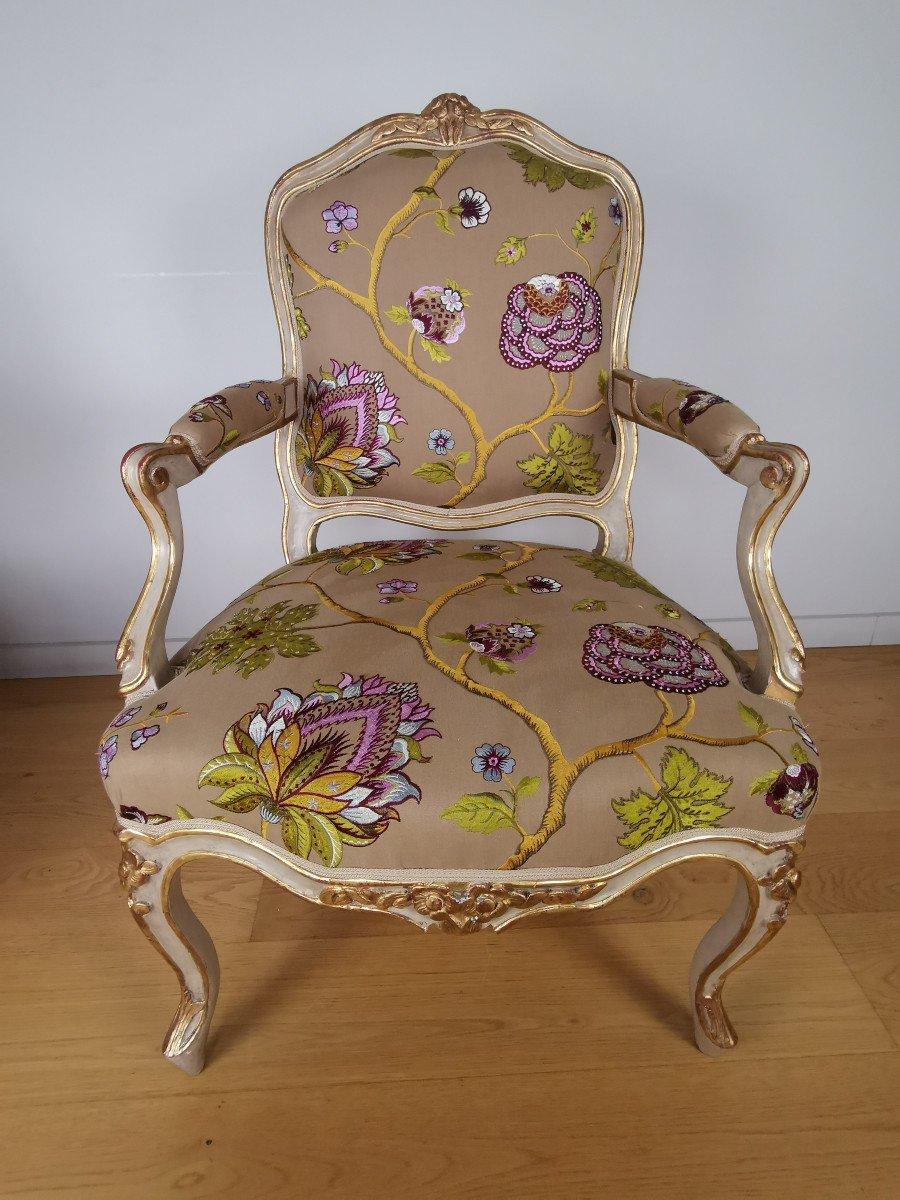 Paire de fauteuils de salon d'apparat d'époque Louis XV, att à Gourdin.-photo-1