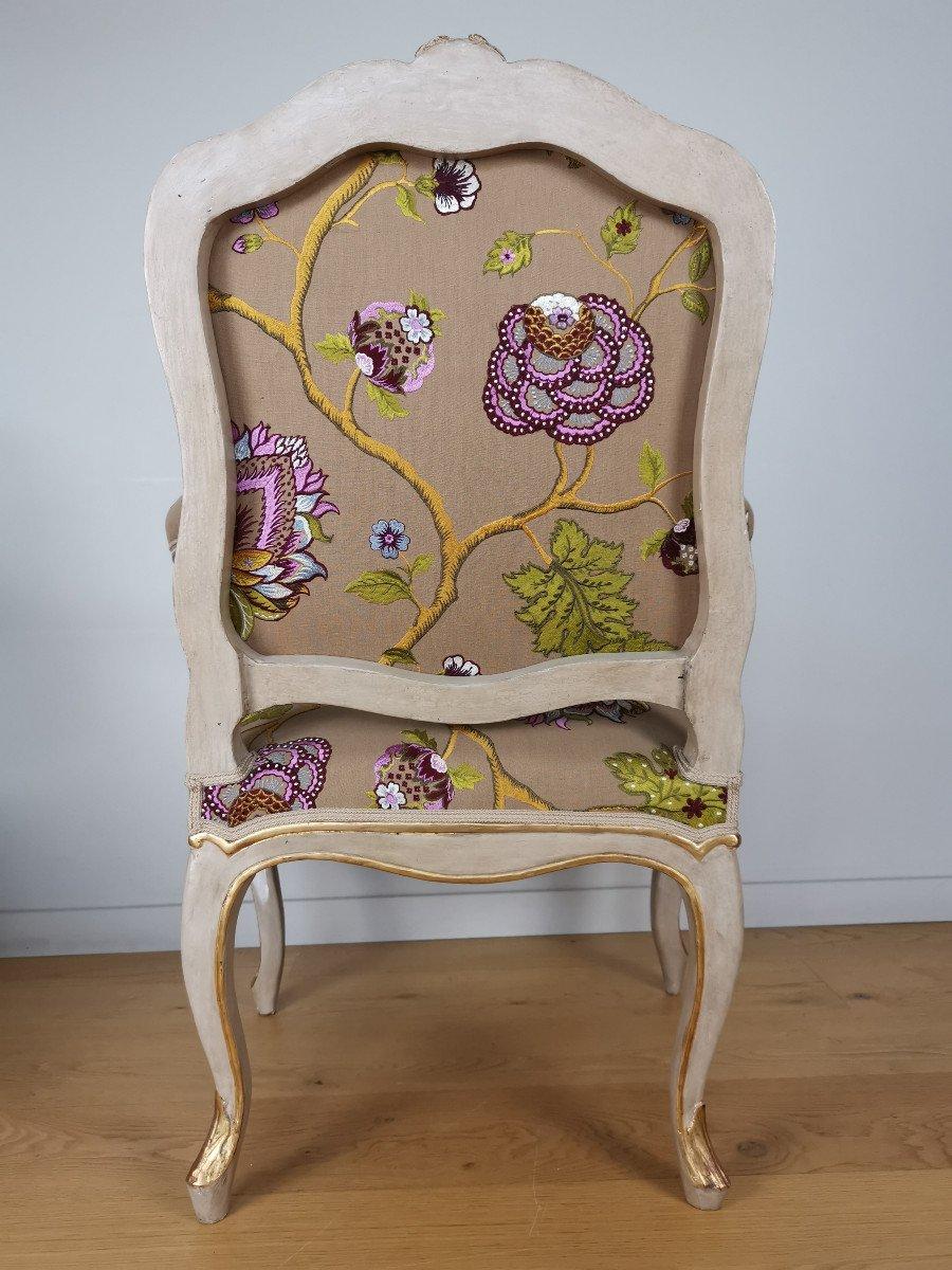Paire de fauteuils de salon d'apparat d'époque Louis XV, att à Gourdin.-photo-2