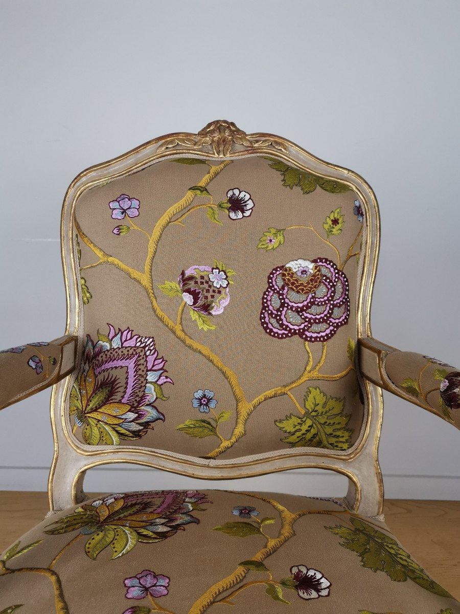 Paire de fauteuils de salon d'apparat d'époque Louis XV, att à Gourdin.-photo-5